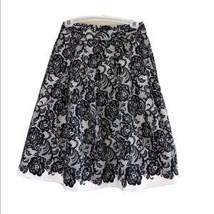 WHBM Black White Lace Print Pleated Full Skirt 6